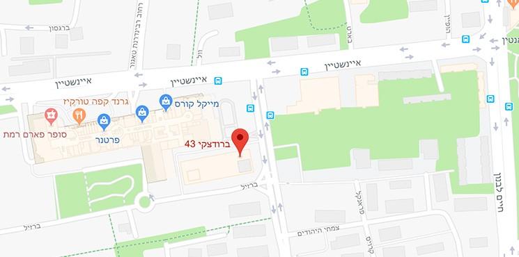 מפה של קליניקה של עמוס זיו בתל אביב